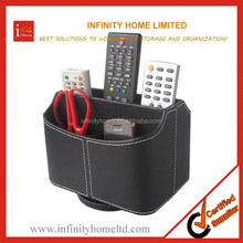 Rotating PU leather Wooden TV Remote Control Holder