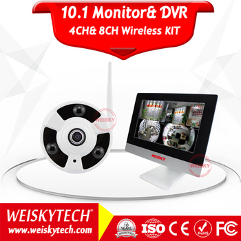 Weisky H.264 960P NVR Video Surveillance Fisheye Wifi 8 Wireless Security Camera System with Monitor