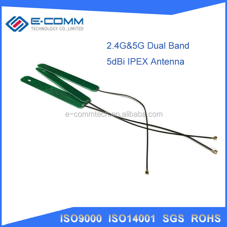 Wholesale 2.4G 5G dual band antenna 5dbi gain IPEX dual band internal signal booster PCB built-in antenna