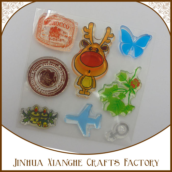 2016 hot selling colorful style mixed color and shape rubber clear stamps scrapbooking clear stamps /