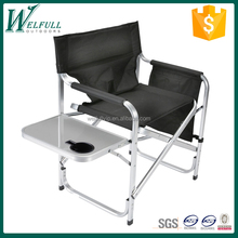 Aluminum Director Chair with Folding Tray and Cup Holder, Black