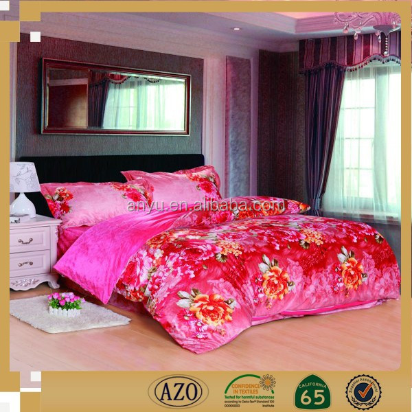luxury brightly colored the big flower design printed bed sheet