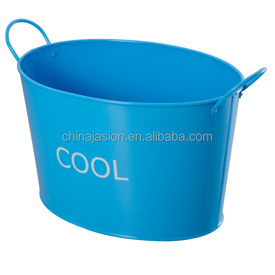 Oval shape Powder coated Metal ice drinks bucket beer ice party Tub