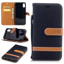 2017 New Jeans Texture Leather Wallet Flip Card Slots Stand Case for iPhone X