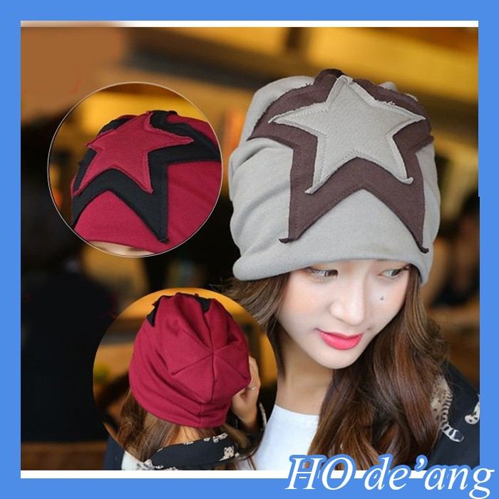 Women's Korean version of the five-pointed star sets head hat warm winter hat