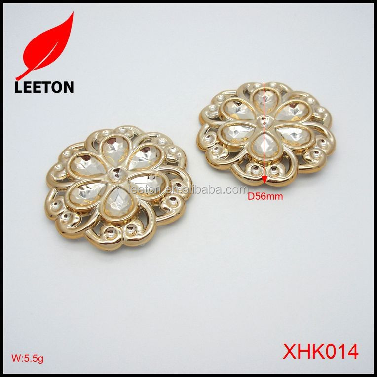 Hot selling gold plastic flower shoe buckle decoration