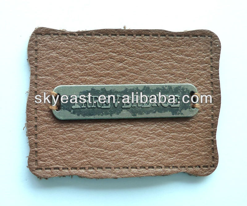 Distressed Color Metal Label With Leather Patch