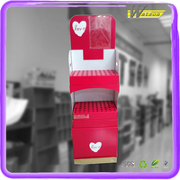 2016 New Design Paper Valentine's Day Corrugated Floor Display Stand With Ploybag