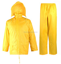 polyester pvc raincoat, PVC rain coat yellow for workers