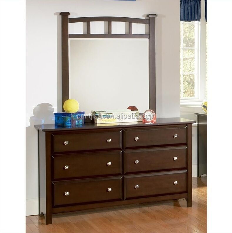 Hot Selling 6 Drawer Double Dresser with Mirror