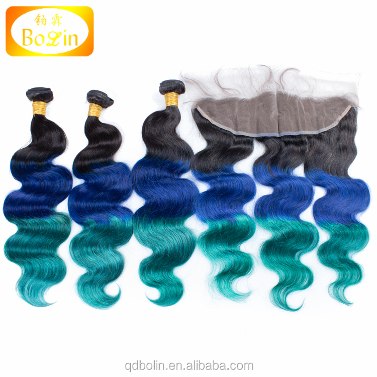 peruvian virgin hair body wave three tone human hair weave ombre 1b/blue/green hair extensions cheap peruvian hair
