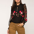 Fashion high quality women industries ladies long sleeve blouses embroidered tops