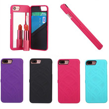 high quality Leather Card Slot Makeup Mirror flip PC PU leather Phone Case for iPhone 6 6S