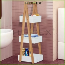 BBamboo Bathroom Storage Shelf Rack with 3 Boxes/ /Homex-BSCI-FSC