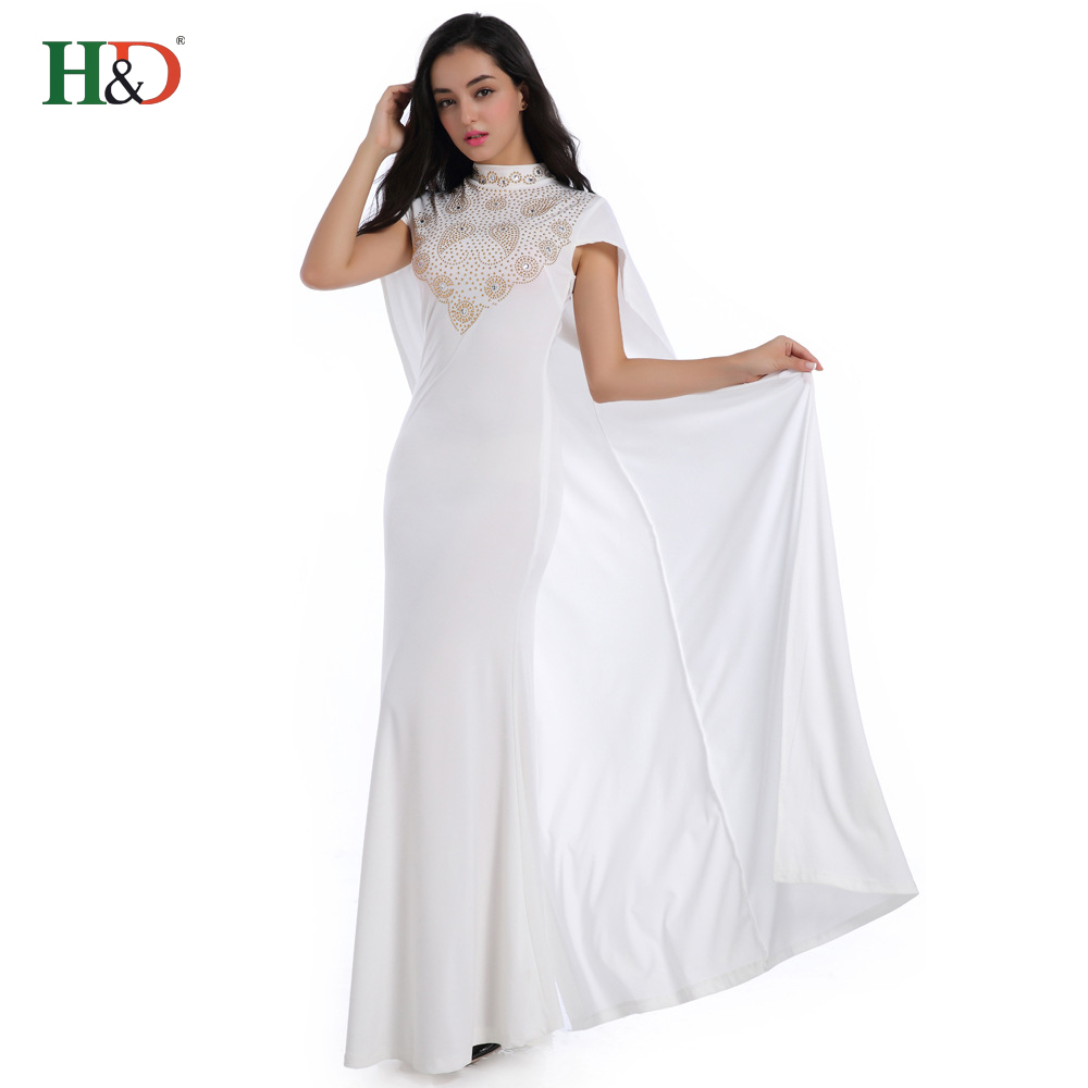 Free Shipping H & D Wholesale Fashion New Style White African Design Party <strong>Dresses</strong> Women Long
