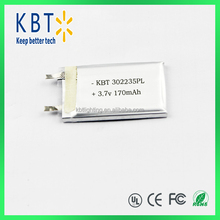 302235 polymer lithium battery 3.7V with 170mah rechargeable polymer lithium battery