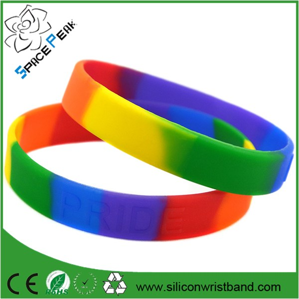 debossed swirl color rainbow silicone wristband custom wristband cheap ireland