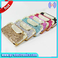 Jeweled Cell Phone Flip Leather Cases for Iphone 5G 5S With Card Slot Holder