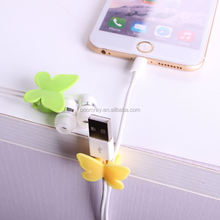 1 dollar china supplier Plastic adhesive tape butterfly cable holder mobile phone hanging accessories