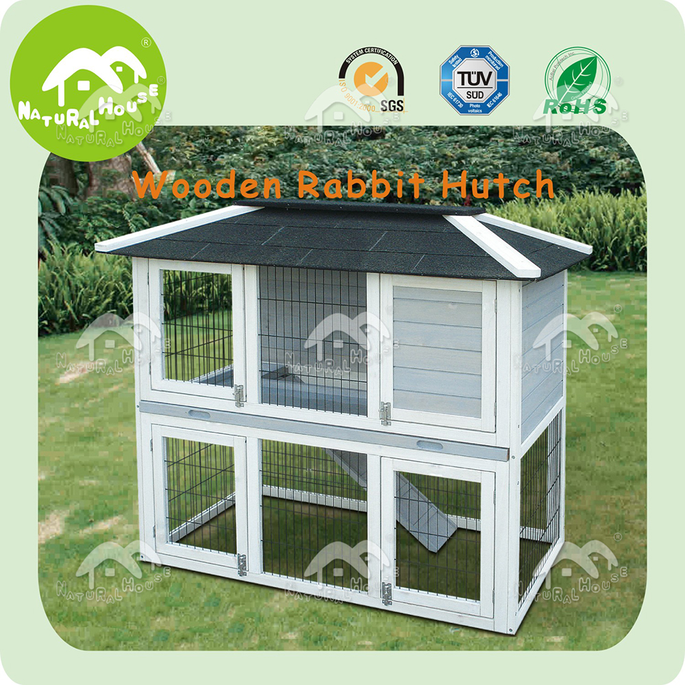 outdoor custom handmade double decker rabbit hutch