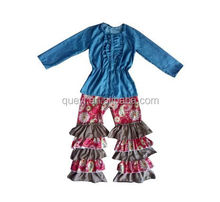 wholesale clothing denim fabric denim shirt cowgirl costume ruffle pants floral icing pants baby clothes child clothing
