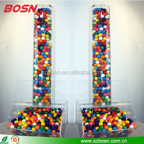 High quality clear acrylic candy gravity dispenser Perspex pick and mix sweet cereal tube