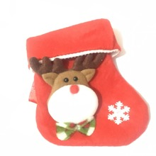 Hot Sale White and green Animal Plush Christmas Stocking, Wholesale Christmas Ornament