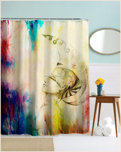 Eco-friendly digital printing color changing shower curtain