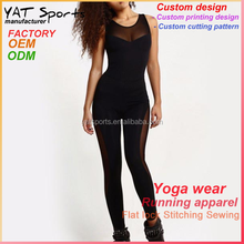 Womens gym wear transparent backless tops one piece mesh black yoga suit