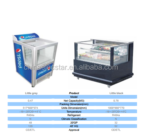 Supermarket  display Multideck/ refrigeration showcase with glass door