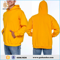 2016 Guangzhou Shandao spring 80%cotton 20%polyester long sleeve jersey pullover with pocket loose yellow hoodies