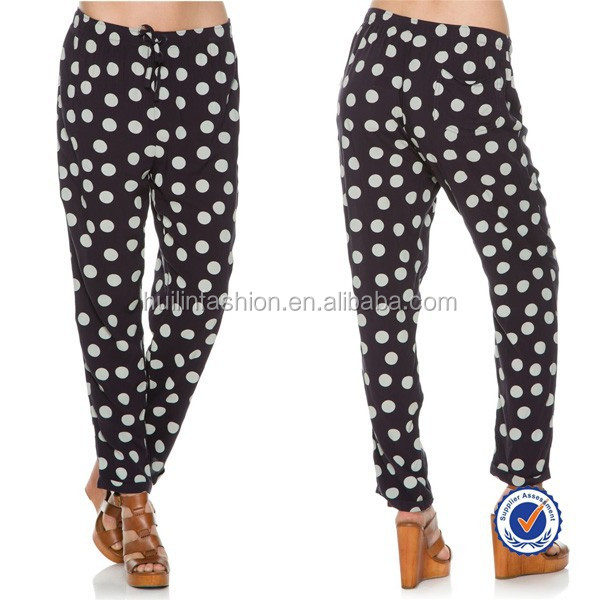 wholesale women all kinds of pants spring loose black and white dot pants