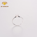 New custom design jewelry prong setting crystal 925 sterling silver finger ring