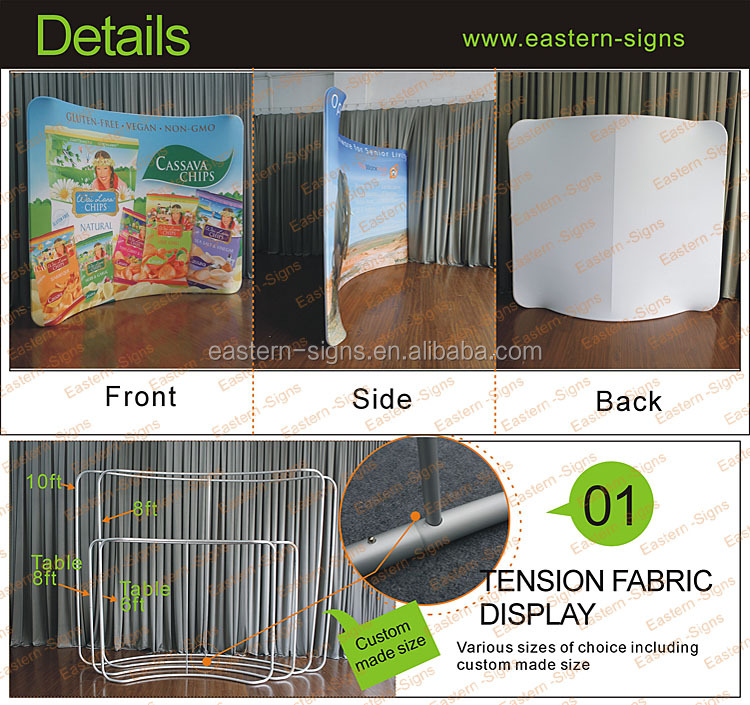 Portable tension fabric banner stand signs