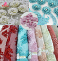 New Fashion 3d flower Lace Fabric/Cute Design Bridal Lace Fabric/Embroidered Lace fabric with Stone