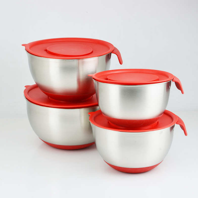 4pcs in a set stainless steel deep mixing bowl with lid and grater