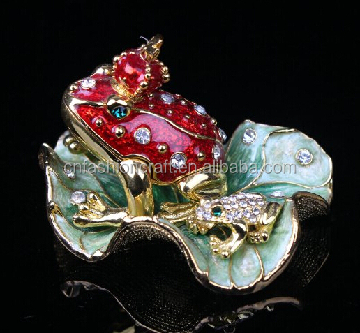 Legendary Bachelorette Frog Prince Crystals Toad King Crown, Trinket , Keepsake, Jewelry Box Lily Pad