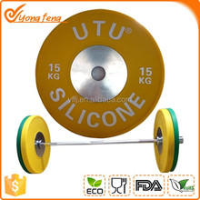 OEM bumper disc rubber weight plate silicone barbell for GYM 15kg