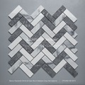 white mixed gray herringbone marble mosaic flooring tiles