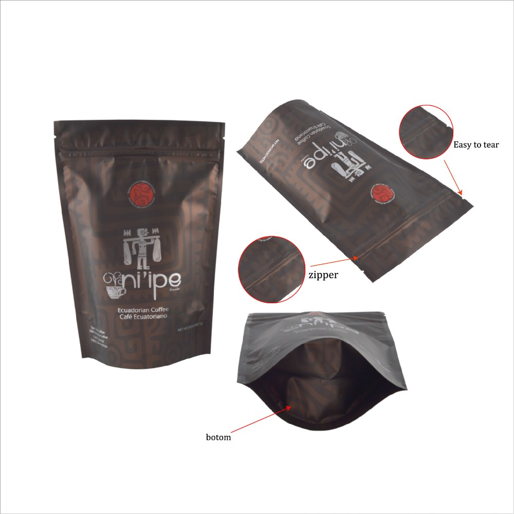 Custom printing stand up matte black coffee packaging pouch bag/resealable aluminum foil packaging bags