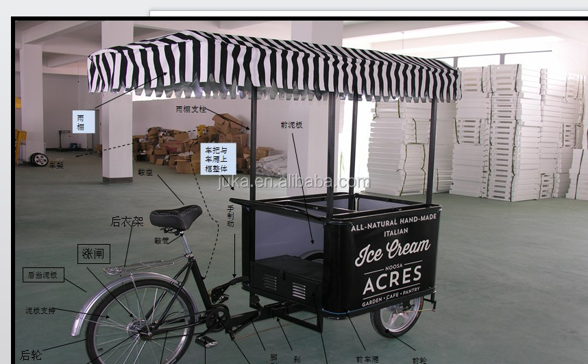 2016 68L solar freezer dc freezer with ice cream tricycle/bike for sale