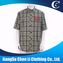 brown short sleeve plaid embroidered print men plus size t shirt