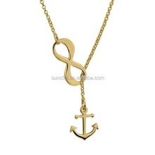 Fashion Stainless Steel Gold Chain Necklace 24k Gold Plated Infinity Anchor Y Shaped Necklace