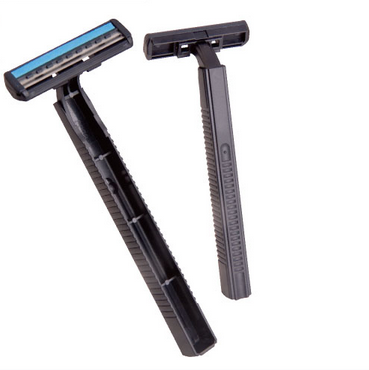Disposable shaving razor and razor head stainless steel blade