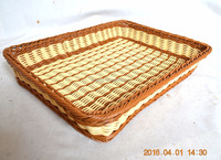 plastic rattan basket with natural material and colorful