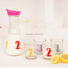 set of 5 1L glass milk shaker divider bottle with cup