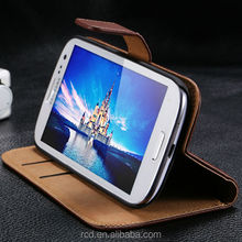Colorful Mobile Phone Genuine Leather Case Flip Cover for Samsung Galaxy S3 I9300 Card Slot Stand Design RCD01247