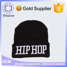 Cheap Custom Wholesale Plain Black Fleece Lining Wool Knitted Beanie Hat with 3D Embroidery