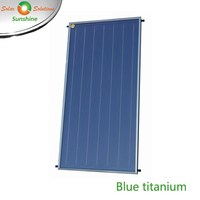 Flat Panel Solar Collector with Blue Titanium Coating