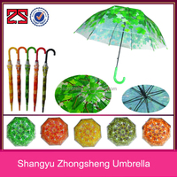 China Factory Umbrella Printing Leaf Transparent POE Material Auto Open Straight Umbrella for Sale